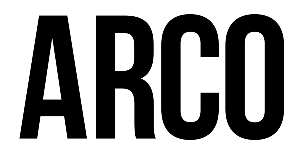 Marca da Revista Arco, palavra escrita em caixa alta preta