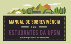 Capa do Manual de Sobrevivência para Estudantes com ilustração de alguns prédios do campus