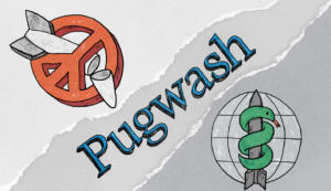 Símbolos coloridos e Pugwash escrito no meio