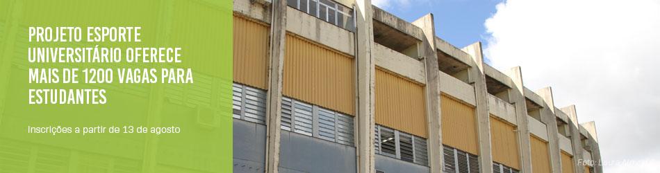 Banner horizontal com foto da fachada do CEFD com o texto projeto esporte universitário oferece mais de 1200 vagas para estudantes
