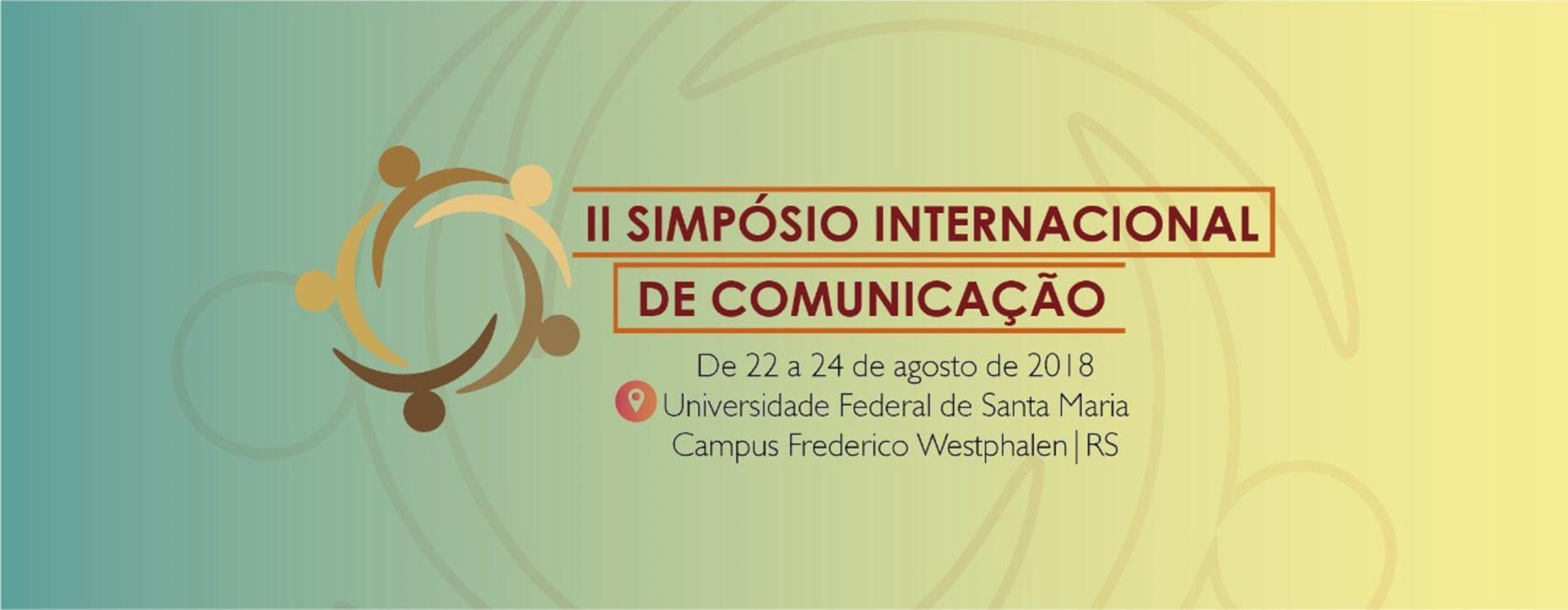 Banner colorido com o nome do Simpósio Internacional de Comunicação
