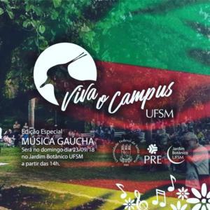 Imagem de divulgação do Viva o Campus especial com uma foto do campus e um filtro da bandeira do Rio Grande do Sul em cima