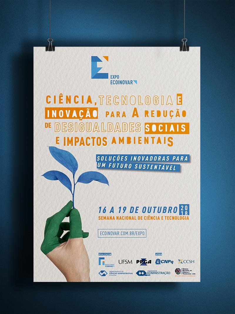 Arte em cores com informações sobre o evento e a imagem de uma mão segurando uma planta