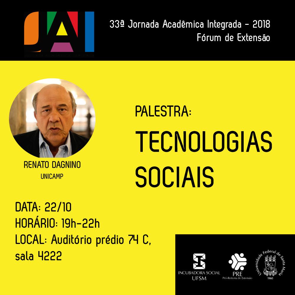 Arte do evento, com foto do palestrante e logotipo da JAI sobre fundo amarelo