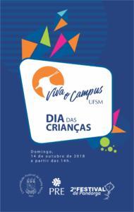 Imagem de divulgação do Viva o Campus Dia da Criança com fundo azul e pandorgas.