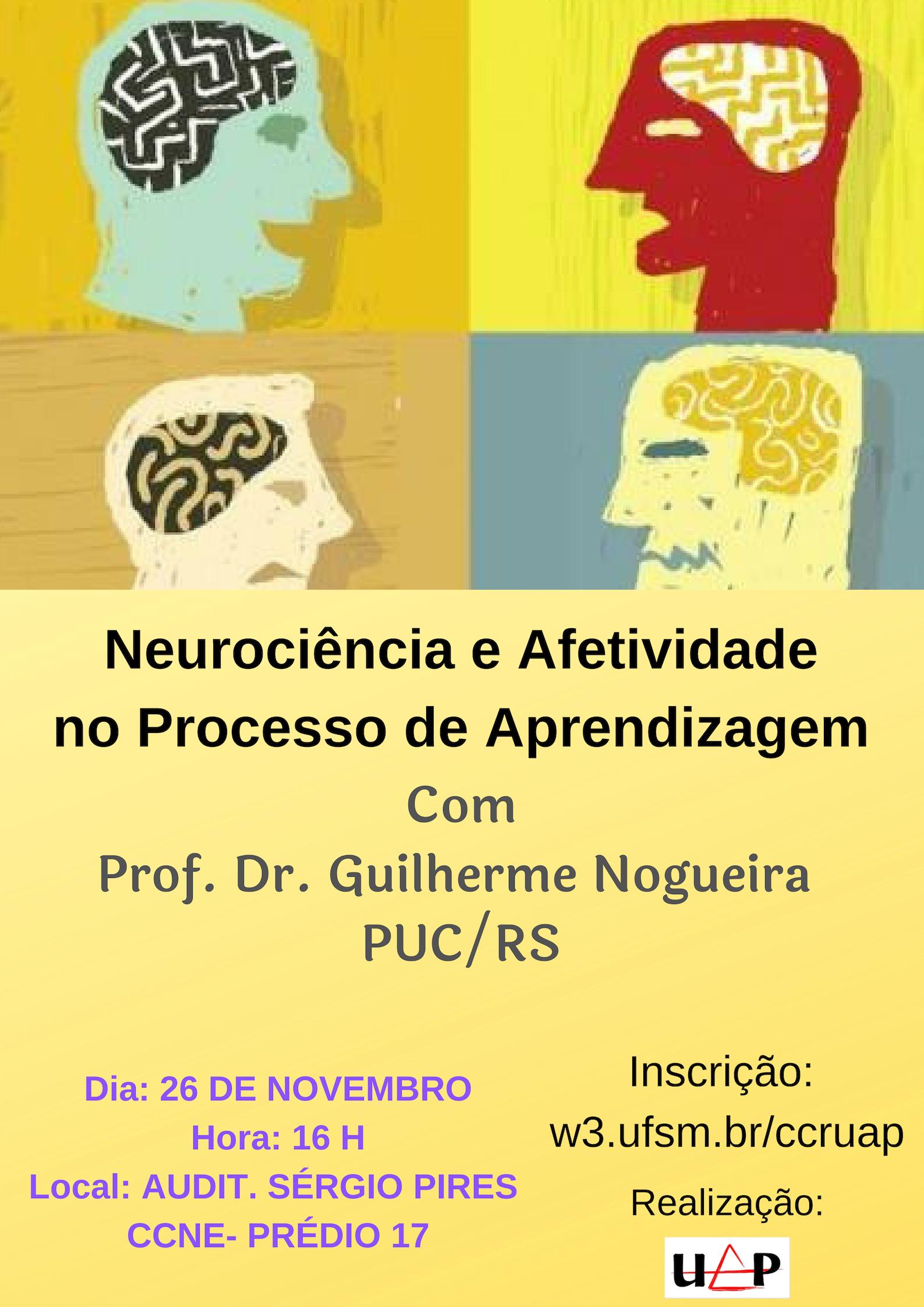 Cartaz em cores com informações sobre o evento e desenhos de cabeças com o cérebro destacado