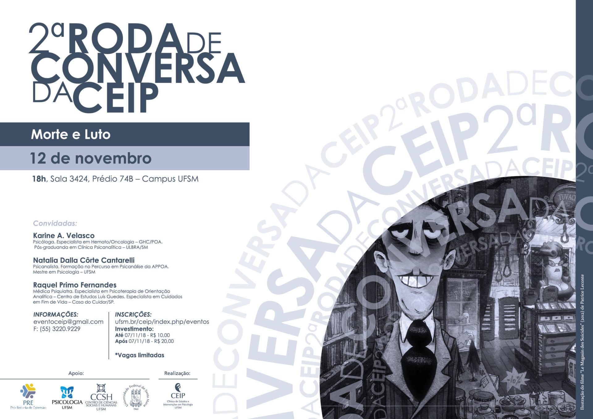 Arte em preto e branco com informações sobre o evento e nome dos palestrantes