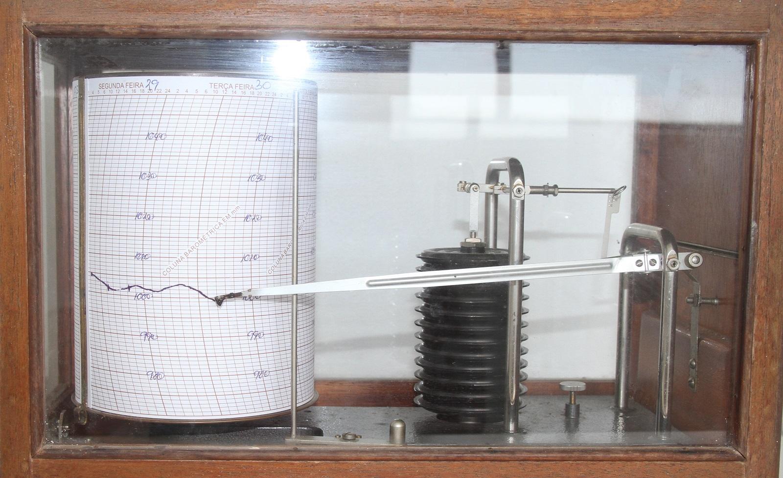 A imagem mostra um objeto dentro de um espaço vidrado com borda em madeira. No interior um instrumento que registra com tinta variações de pressão em um papel fixado em formato de rolo