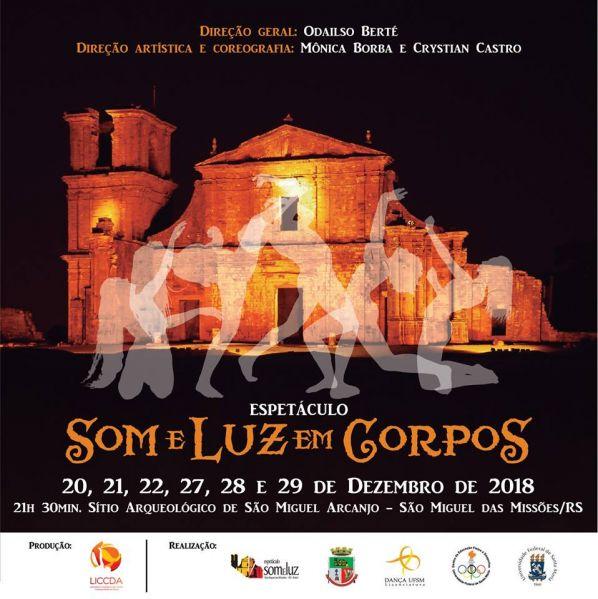 Arte com informações sobre o espetáculo e silhuetas de dançarinos sobre uma imagem noturna das Ruínas iluminadas