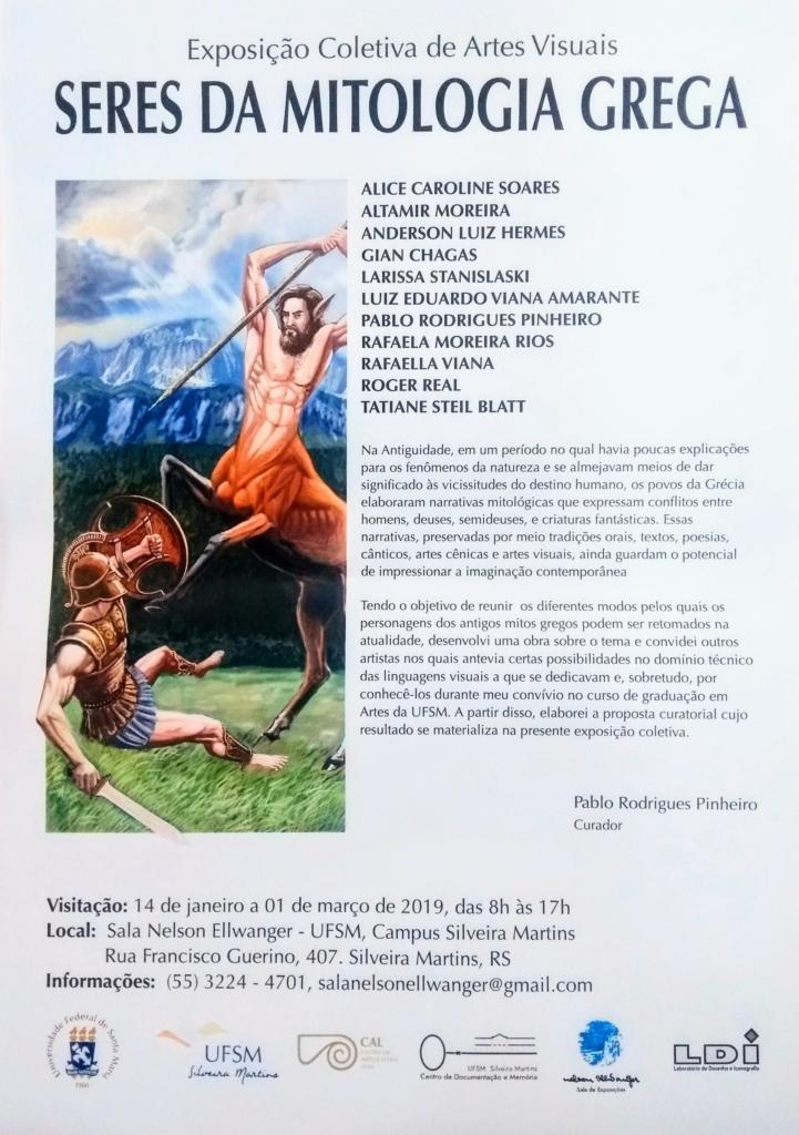 Cartaz vertical com imagem e informações sobre a exposição