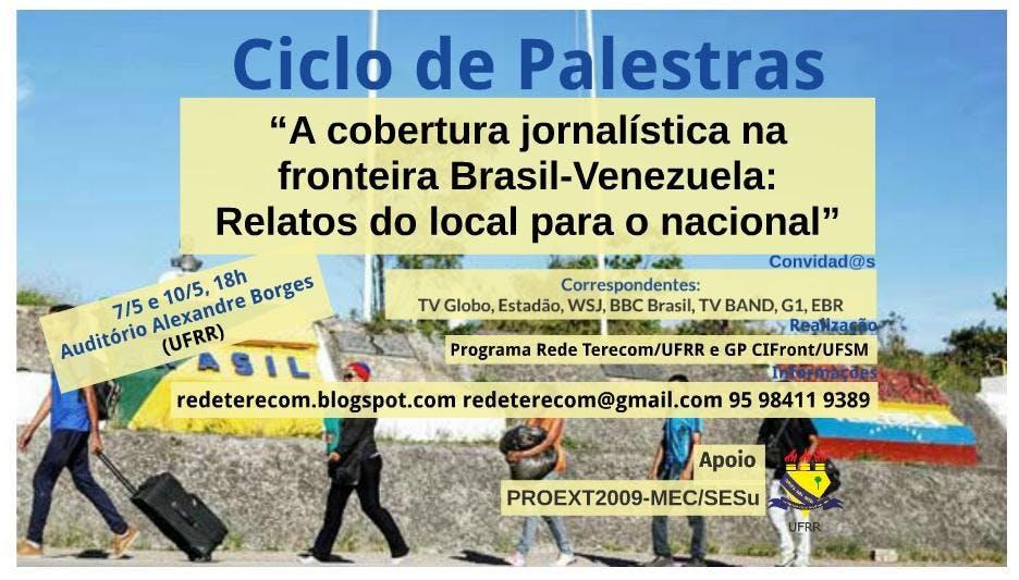 Arte com informações do evento sobre foto de refugiados venezuelanos entrando no Brasil com malas