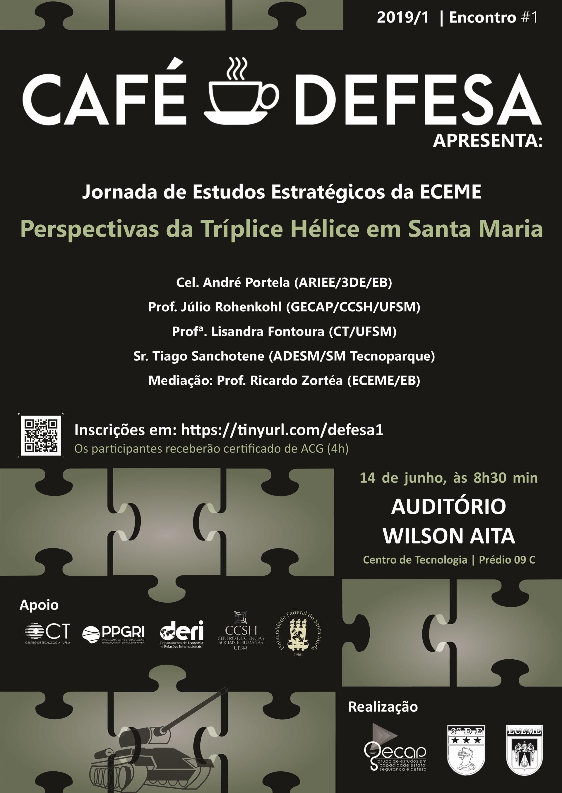"""Cartaz do evento com quebra-cabeças e destaque para o texto """"Café Defesa"""""""