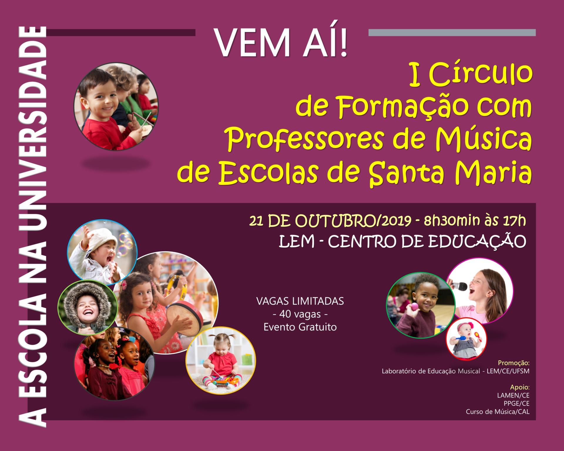 Arte em tons de rosa, branco e amarelo com informações sobre o evento e pequenas fotos de crianças e instrumentos