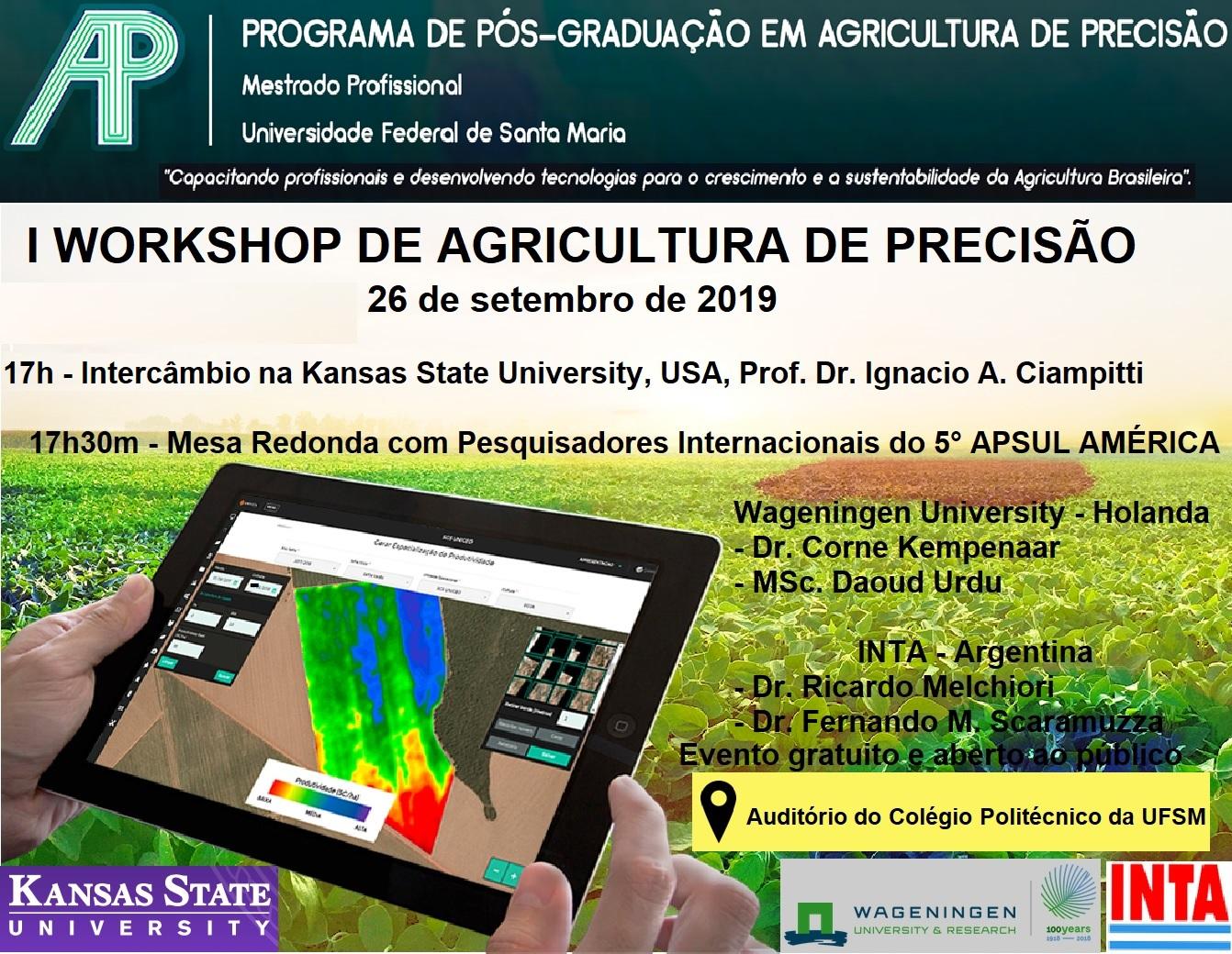 Arte colorida horizontal com informações e programa do evento sobre uma foto de lavoura e um ipad com imagem de satélite