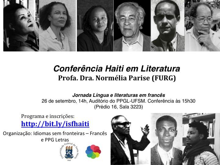 Arte em preto e branco convida para a conferência da professora da Furg, conforme consta no texto. Na arte há fotos 3x4 que supõe-se sejam de escritores do Haiti