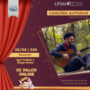 "Card PALCO ONLINE: ""RESSENTIR"" dia 26 de agosto às 20h no YouTube da TV Campus"