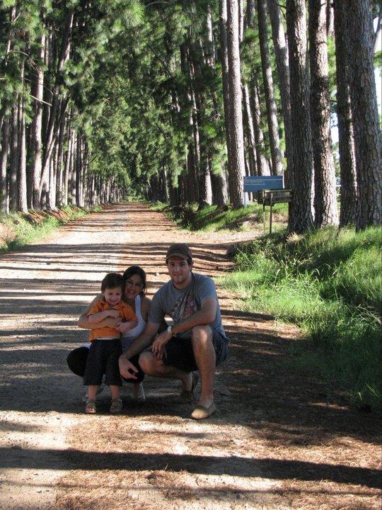 Foto vertical, casal e criança agachados em uma estrada de pinus