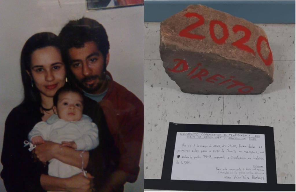 Montagem de 3 fotos, um casal segurando um bebê, uma pedra escrito Direito 2020 e um bilhete