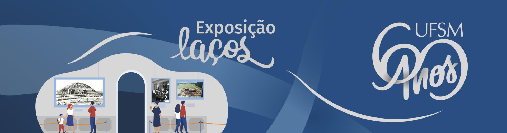 Banner horizontal azul com ilustração de pessoa visitando exposição de artes e texto: Exposição UFSM Laços 60 anos