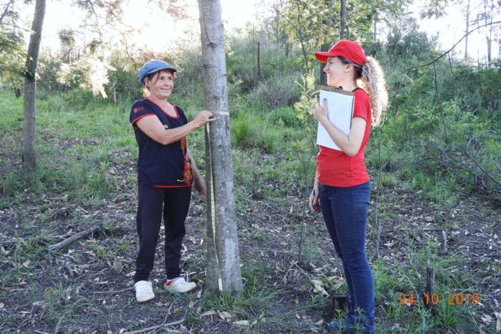 Foto de duas mulheres conversando na floresta, uma segura um caderno, a outra mede o diâmetro do caule de uma árvore