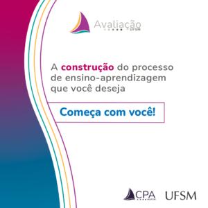 Card branco com ondas azuis e roxas e texto: A construção do processo de ensino-aprendizagem que você deseja começa com você!