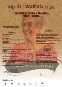 Cartaz das atividades do Mês da Consciência Negra, cujas atividades estão listadas em https://www.facebook.com/NEAB.SantaMaria/
