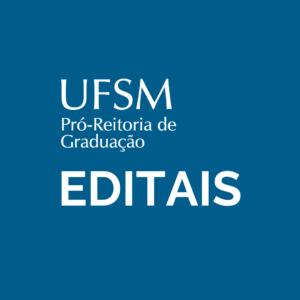 card com fundo azul com a marca da PROGRAD e abaixo dela a palavra EDITAIS