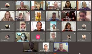 fotografia que mostra a sala virtual no google meet dos participantes do PIBID artes visuaus