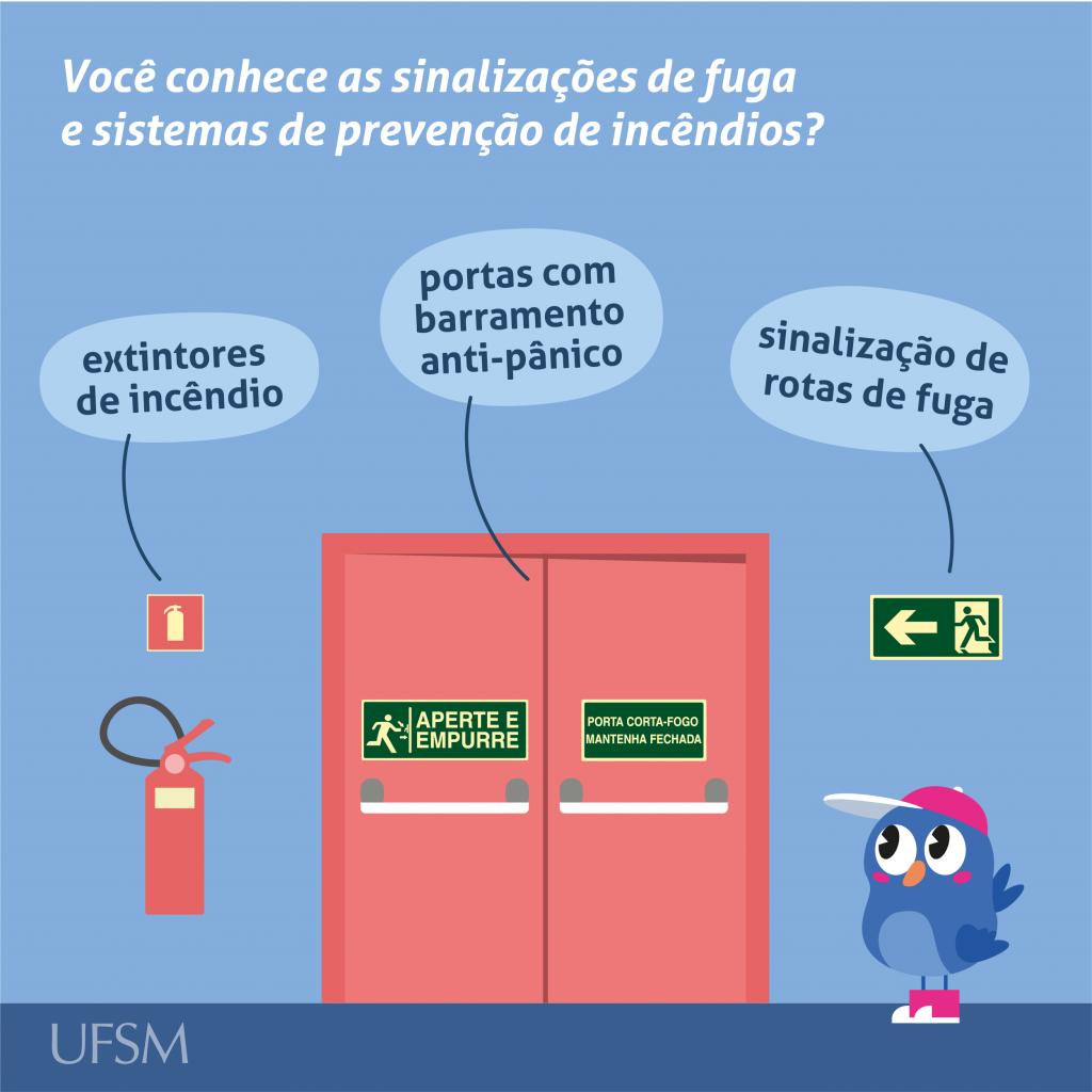 Card para Facebook sobre sinalização de saída, extintor de incêndio e portas corta-fogo
