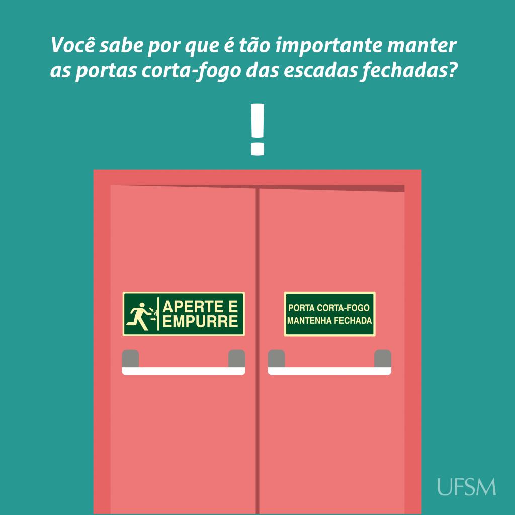 Card para Facebook sobre necessidade de manter portas corta-fogo fechadas