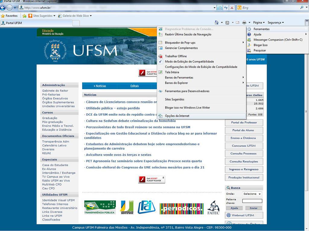 Imagem do site antigo da UFSM, com menu de ferramentas aberto, e submenu de Opções de Internet.