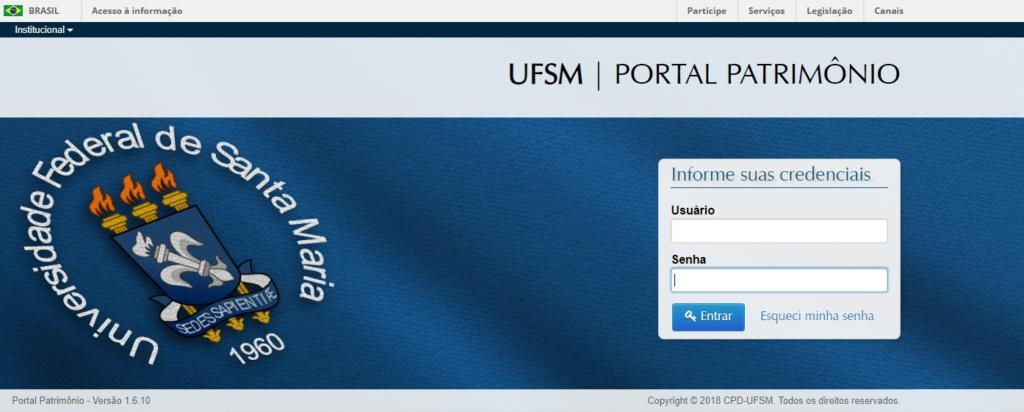 Tela inicial azul para acessar ao portal de patrimônio, com caixa de texto para ser inserido usuário e senha comum a todos os portais
