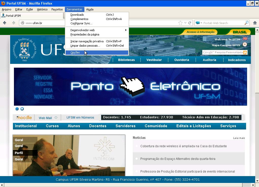 Site antigo da UFSM com o menu ferramentas aberto indicando o botão opções