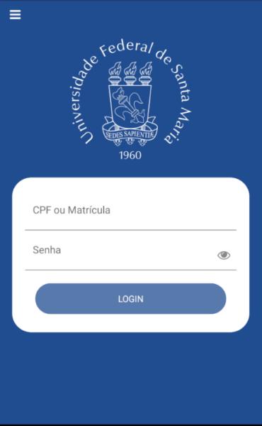 Captura de tela da nova página de login do aplicativo, que possui um azul em tonalidade mais escura, brasão da UFSM em branco na parte de cima e campos para inserir o CPF e a matrícula ao centro, em uma caixa arredondada branca. Abaixo, em azul, há o botão