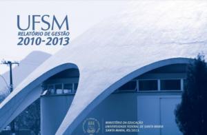 Capa Relatório de Gestão 2010 a 2013 com foto do planetário em tons de azul