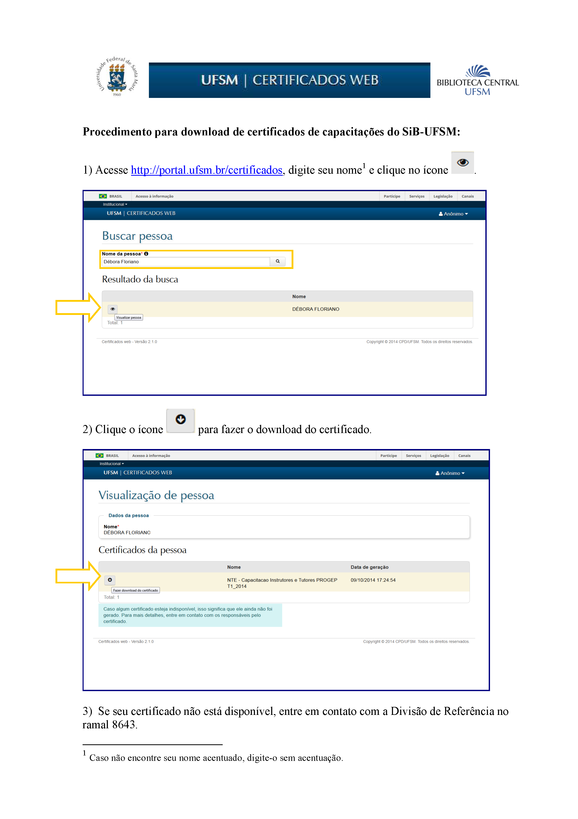 Imagem sobre procedimentos para download do certificado.