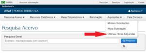 """Captura de tela do Portal Biblioteca, com o relatório """"Últimas obras adquiridas"""" indicado com uma seta vermelha dentro do menu """"Aquisições."""""""