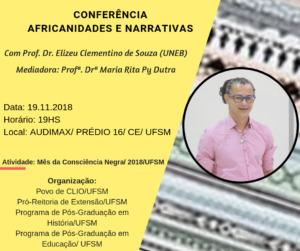 cartaz com fundo amarelo e imagens étnicas, com letra em preto e foto do palestrante, contendo as informações do evento