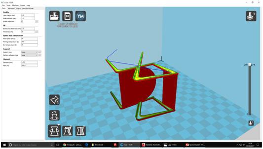 Etapa  2 - O modelo da cadeira  rotacionado e colocado na escala correta no software CURA