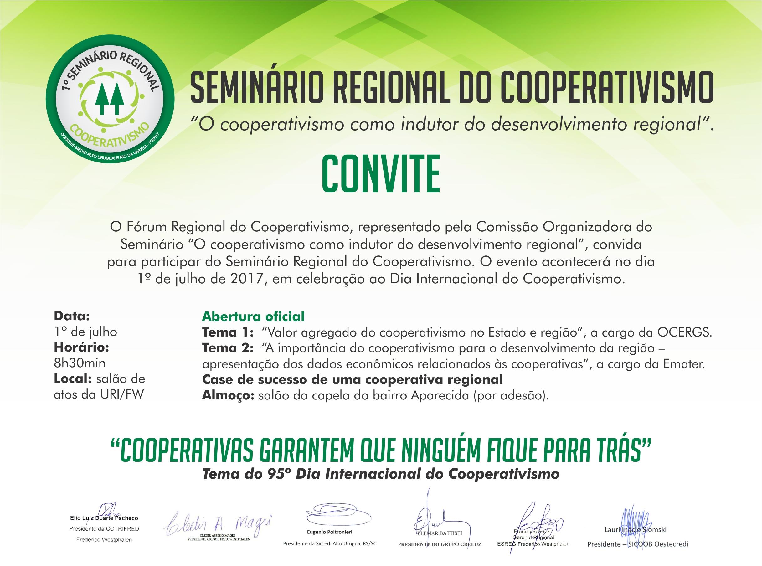 Convite Seminário Regional Cooperativismo