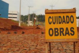 Obras na rua de acesso ao CESNORS da UFSM.