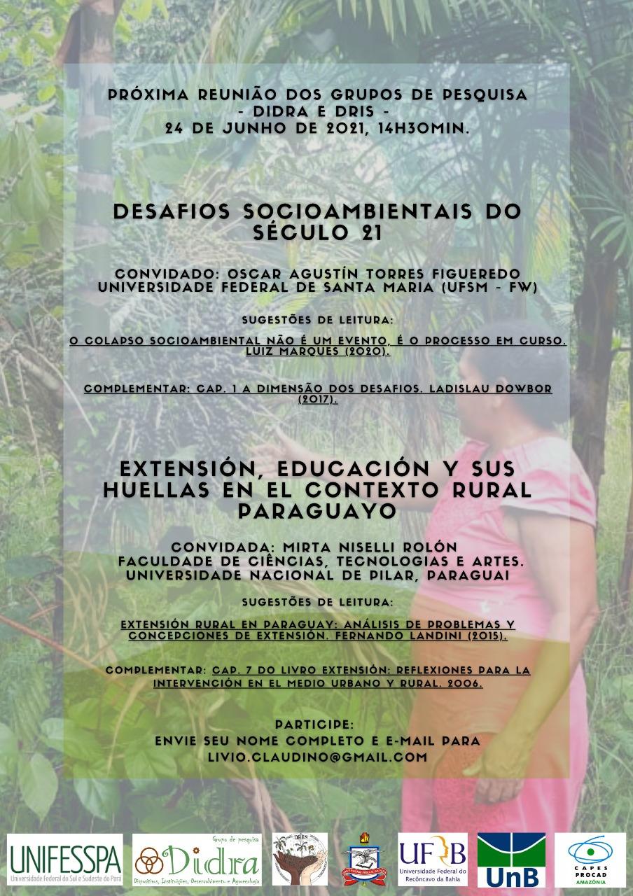 Card verde para divulgação da reunião do DIDRA E DRIS. Na imagem estão descritas as palestras a serem realizadas e as leituras recomendadas para cada uma.
