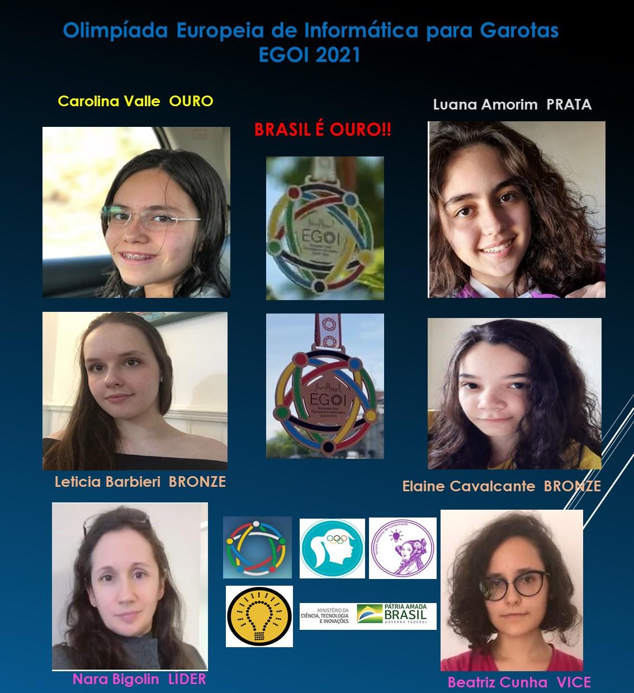 Card na cor azul marinho com as integrantes que participaram da Olimpíada de Informática para Garotas.