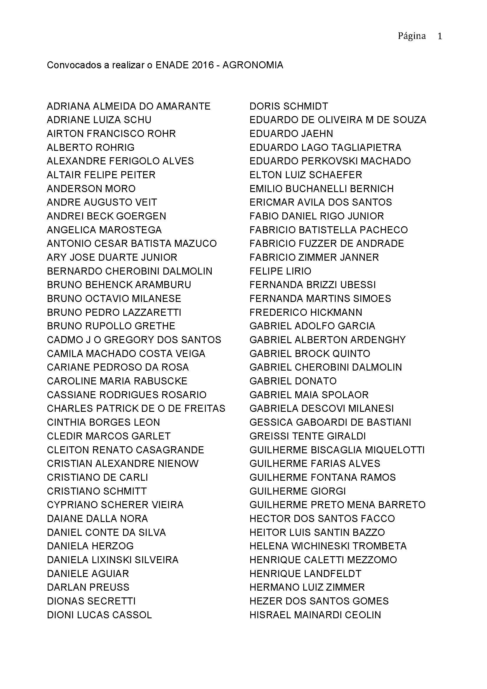 enade2016 selecionados enade Page 1