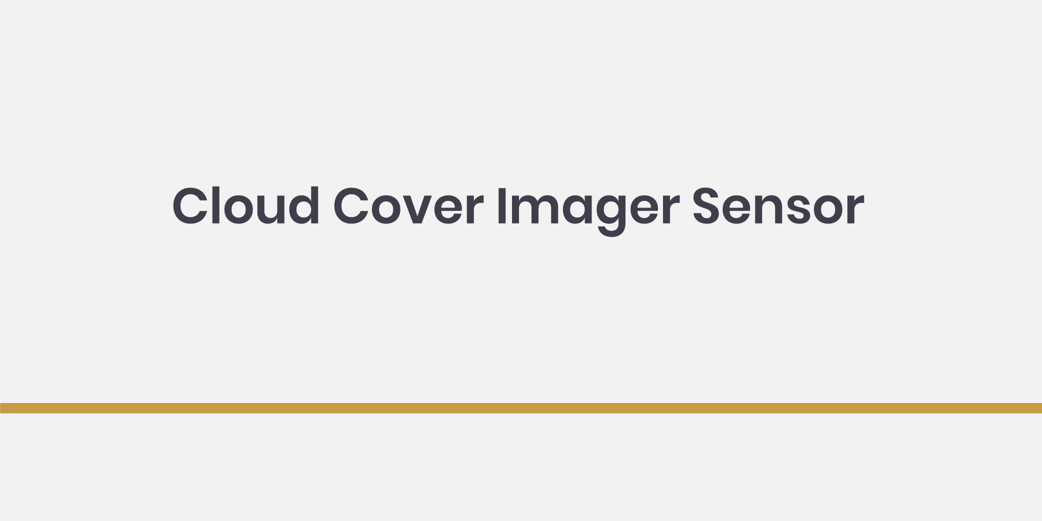 Cloud Cover Imager Sensor