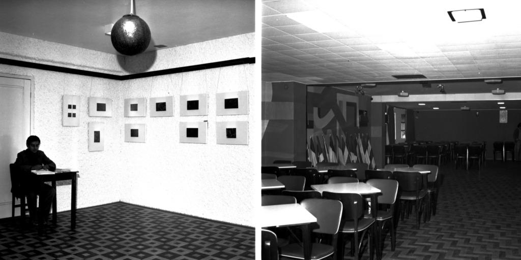 Audiodescrição da Imagem: Montagem horizontal com duas fotografias quadradas em preto e branco. Na primeira fotografia, à esquerda da imagem é escurecida e vê-se a silhueta de um homem sentado em uma cadeira atrás de uma pequena mesa, ambas de madeira escura. Ao centro e ao fundo da imagem, o encontro de duas paredes claras. Na parede da esquerda, atrás do homem, uma porta clara. Quadros retangulares com molduras largas e claras e quadrados escuros ao centro estão nas paredes, três na parede esquerda e sete na parede direita. O teto é claro, com lustre metálico em forma de globo ao centro. Próximo ao teto, rodaforros claros com um traço escuro. O chão é quadriculado mesclado em tons claros e escuros. Na imagem da direita, grupos de mesas e cadeiras em um salão. Dois grupos de mesas claras e cadeiras escuras estão à esquerda da imagem, um à frente e outro ao fundo. No grupo da frente, seis mesas e quatorze cadeiras. Na lateral esquerda, uma parede com uma pintura abstrata e com uma janela ao fundo. Próximas à esta parede, treze bandeiras em pedestais. Ao fundo, uma parede escura. Sobre os grupos de mesas e cadeiras o teto é  claro com luminárias embutidas. à direita das mesas, o teto é mais elevado e escuro. O chão é de parquets claros e escuros, dispostos em zigue-zague.   Audiodescritora Roteirista: Marya Eduarda Garcia de Oliveira Audiodescritora Consultor: Fernanda Taschetto