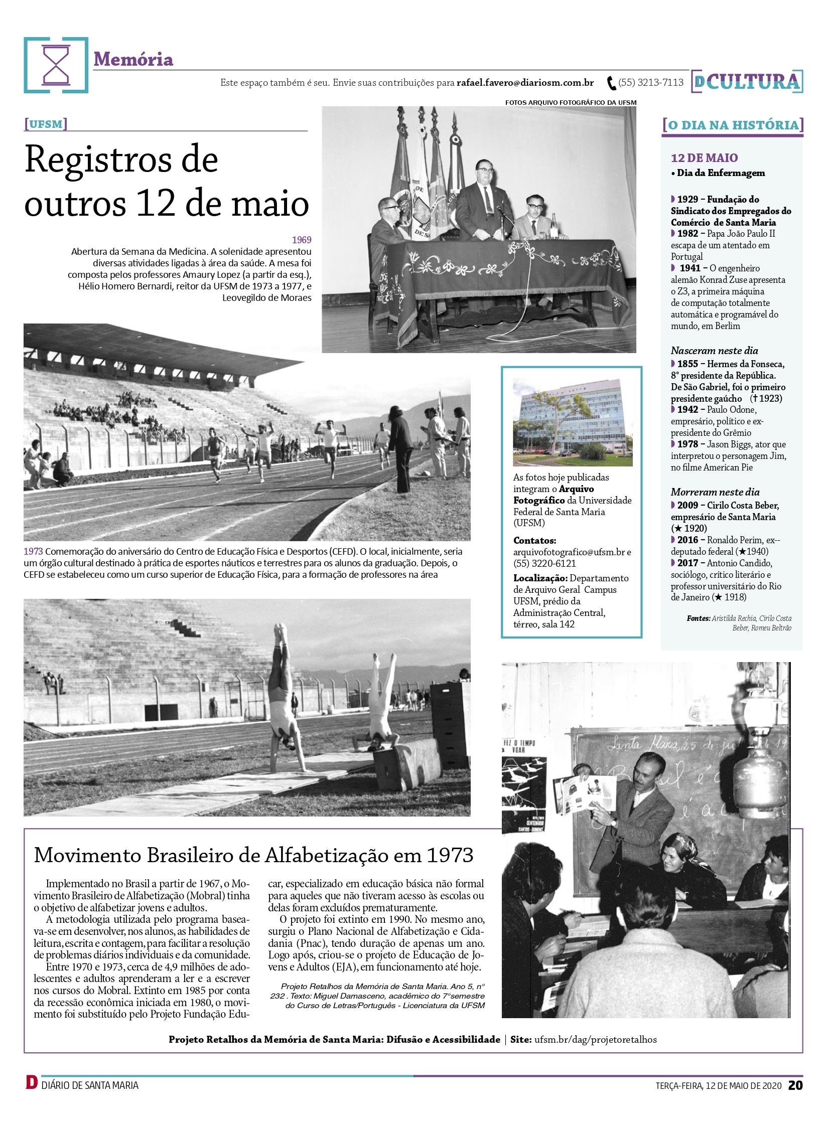 Seção Memória Jornal Diário de Santa Maria 12 maio 2020