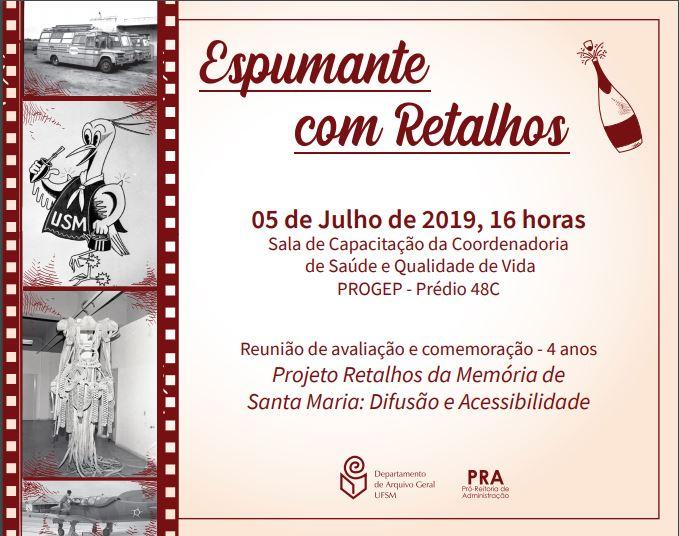 Convite aniversário 4 anos Projeto Retalhos