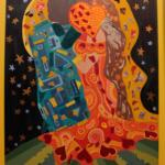 """Obra 2: Releitura de """"O Beijo"""". Dimensões: 1,06 m x 72 cm. Técnica: Pintura acrílica em tela e colagem com tecido"""