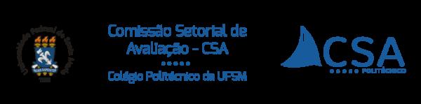 No lado esquerdo, logo da UFSM, no meio o nome da Comissão Setorial de Avaliação - CSA, Colégio Politécnico e no lado direito a logo da CSA.